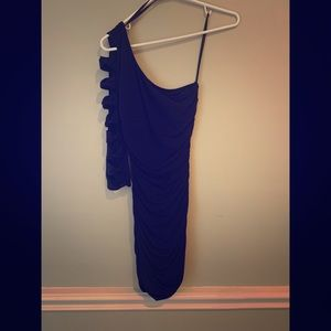 Navy Blue one sleeve mini dress